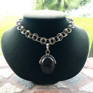 Sterling silver onyx pendant + choker steel chain